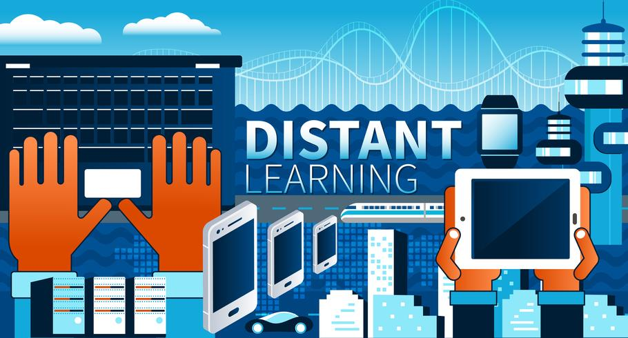 Distant learning and online tutorials concept. Flat vector illustration