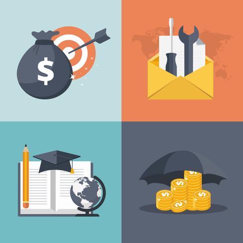 Os ícones lisos modernos vector a coleção em cores à moda de objetos do design web. Ícones para negócios, finanças, suporte ao cliente e educação empresarial