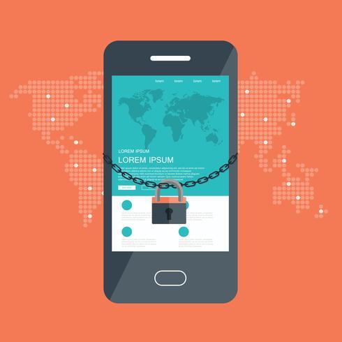 Concepto de seguridad con cerradura y cadena alrededor del teléfono móvil.