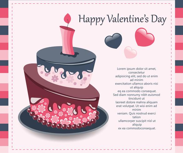 Valentine's Day card. Concept for Valentine's Day, birthdays, weddings. Colorful cake. Flat vector illustration