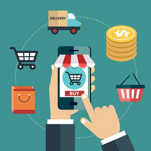Marketing mobile e concetto di shopping mobile