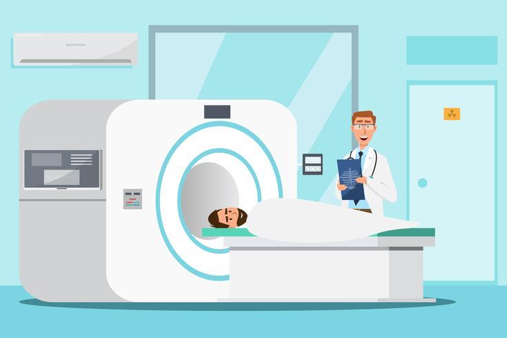 läkare stående och man liggande för röntgen med MRI-skanner maskin