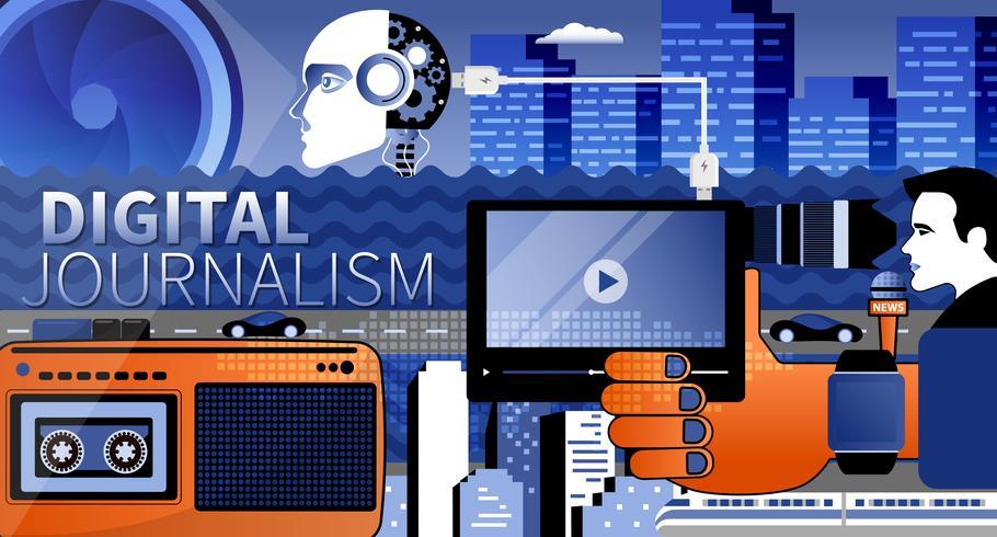 Digitaler Journalismus und Videoinhalt vector Websiteschablone