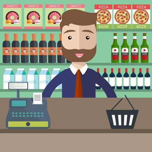Shoppingkoncept. Supermarket butik kontorsutrustning och kontorist i uniform. Platt vektor illustration
