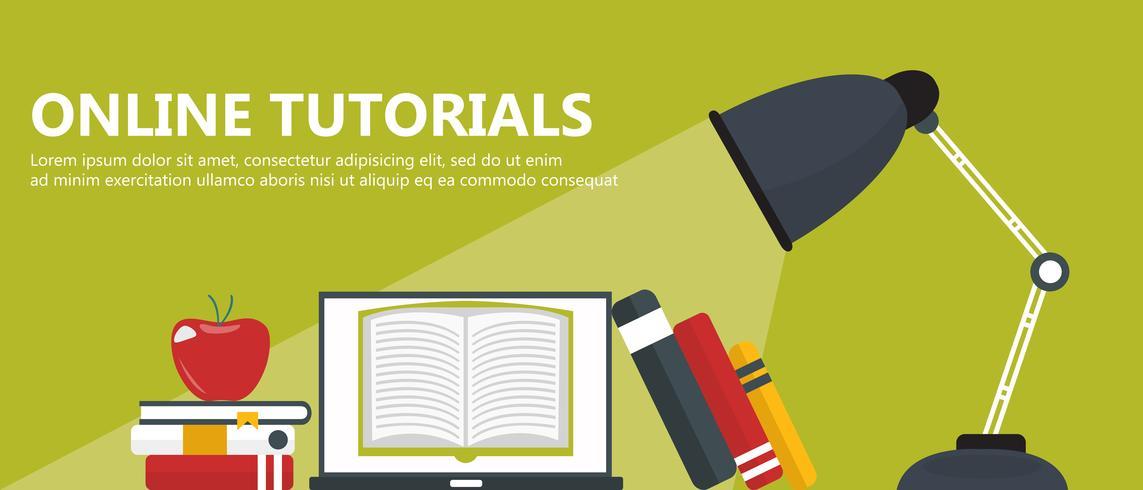 Educación, formación, tutorial on line, concepto e-learning. Portátil con libro en la pantalla. Ilustración vectorial plana