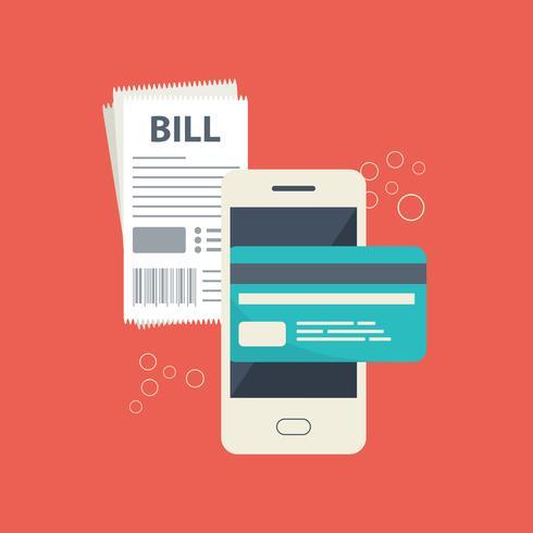 Mobilt betalningskoncept. Betala räkningar på rad. Använda en mobiltelefon för att banka och handla på nätet
