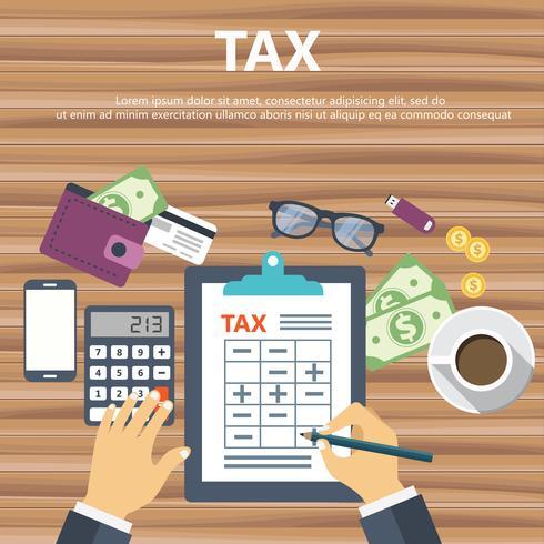 Steuerzahlung. Regierung, staatliche Steuern. Datenanalyse, Papierkram, Finanzanalyse, Bericht
