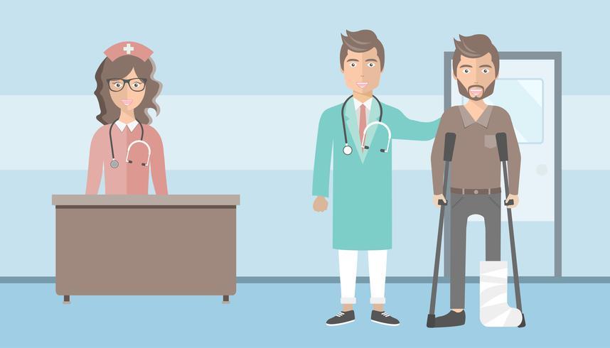 Paciente com a perna quebrada e seu médico em pé no corredor do hospital. Ilustração vetorial plana