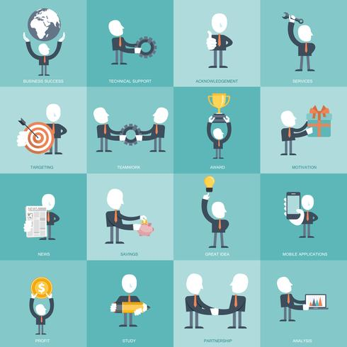 Human resources and management Icon set. Business, management and finances icon set