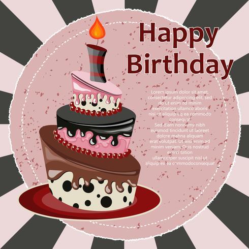 Carta di compleanno con torta