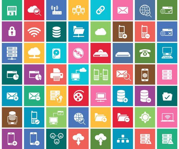 Rede social, analítica de dados, móvel e conjunto de ícones de aplicativo da web. Ilustração vetorial plana