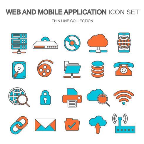 Web und mobile Anwendung Symbolsatz für Computing, Datenspeicherung, Suchmaschinenoptimierung, Technologie