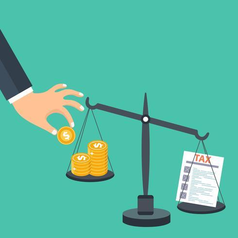 Steuerbelastungskonzept. Geld, das mit Steuern auf Skalen balanciert