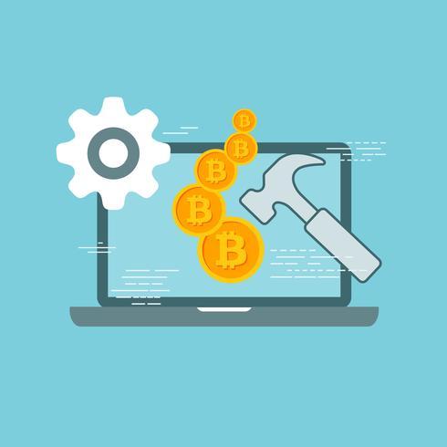 Bitcoin-concept. Online financiering en investeringen doen voor bitcoin