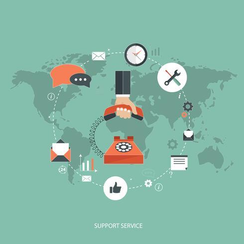 Ondersteuning dienstverleningsconcept. Platte ontwerp illustratie met pictogrammen. Technische ondersteuning.
