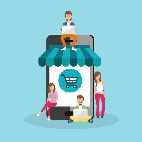 Leute, die auf großem intelligentem Telefon sitzen. Surfende Konzeptillustration von den jungen Leuten, die Laptop verwenden, um auf Linie zu kaufen