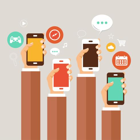 Concepto de aplicaciones móviles. Manos con telefonos