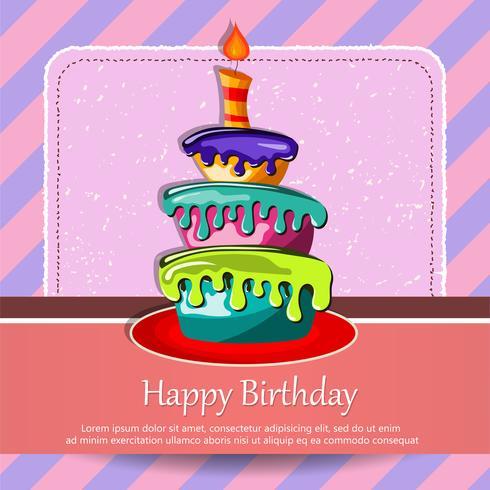 Carte d'anniversaire avec un gâteau. Concept pour les anniversaires, la Saint-Valentin, les mariages. Illustration vectorielle plane