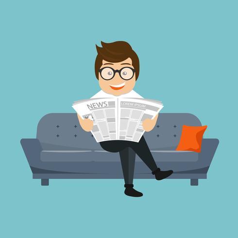 Geschäftsmann, der eine Zeitung auf dem Sofa in einem Raum oder in einem Büro liest