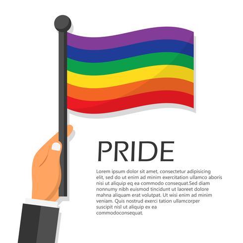 Ilustración del vector para la celebración del evento mes del orgullo. Mano que sostiene la bandera del arco iris.