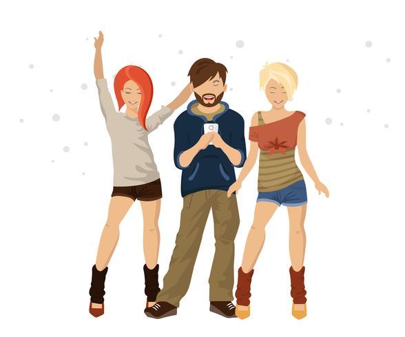 Tre giovani amici che indossano abiti casual in piedi insieme come amici.