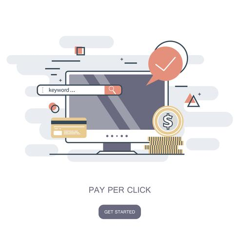 Icona Pay per click. Acquista on line, il concetto di e-commerce