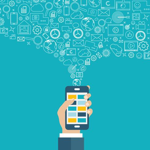 Applicazioni mobili e marketing mobile e concetto di pubblicità