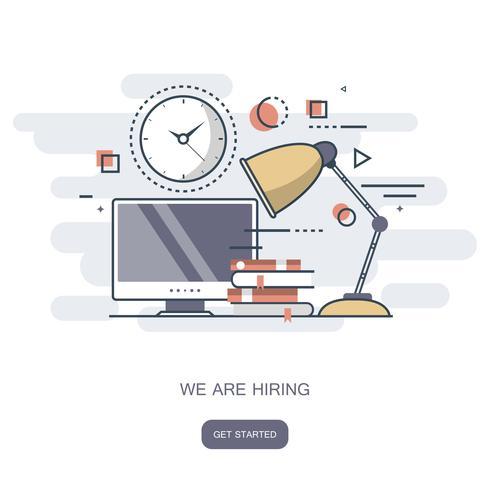 Estamos contratando concepto. Encuentra a la persona adecuada para el trabajo. Ilustración vectorial plana