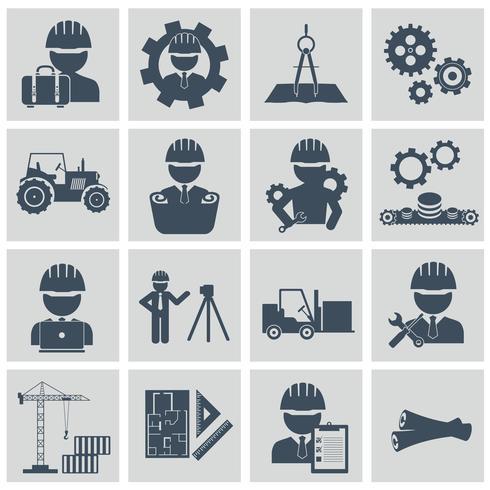 Set di icone di ingegneria. Gestore dell'ingegnere della macchina dell'attrezzatura di costruzione dell'ingegnere e icone di fabbricazione