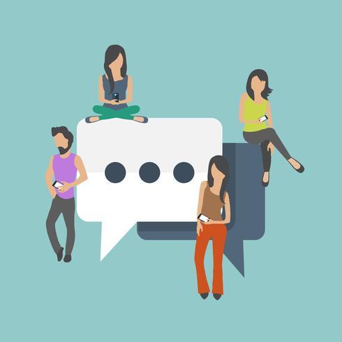Personas sentadas en grandes símbolos. Discurso de burbujas para comentar y responder al concepto. Ilustración vectorial plana de jóvenes que usan la parte superior de la computadora portátil para enviar mensajes de texto y dejar comentarios en las redes