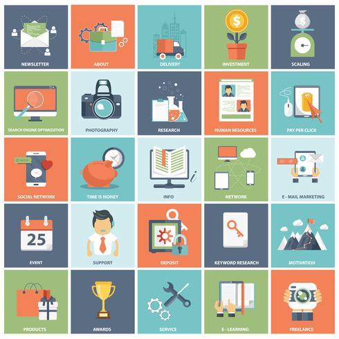 Set di icone di affari e tecnologia