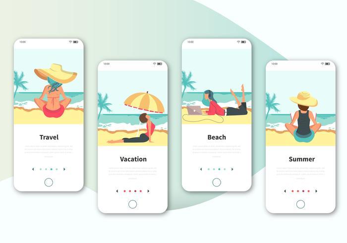 Set von Bordbildschirmen für die Benutzeroberfläche auf Reisen