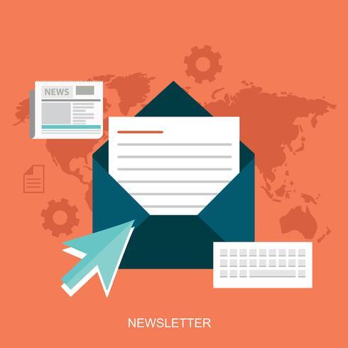 Platte ontwerpconcept van regelmatig verspreide nieuwsuitzendingen via e-mail met enkele onderwerpen die van belang zijn voor haar abonnees