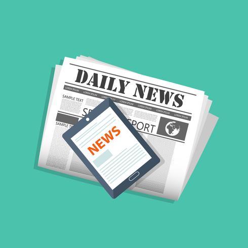 Concepto de noticias on line. Lea el periódico en su tableta o teléfono inteligente. Ilustración vectorial plana