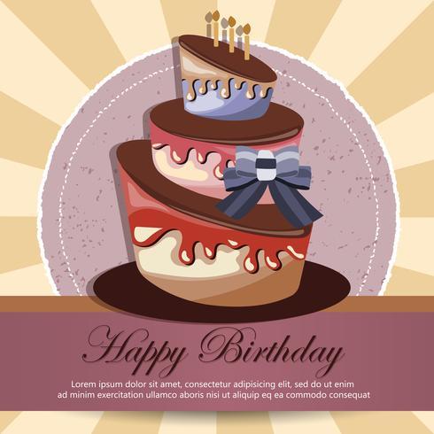 Carte d'anniversaire avec un gâteau