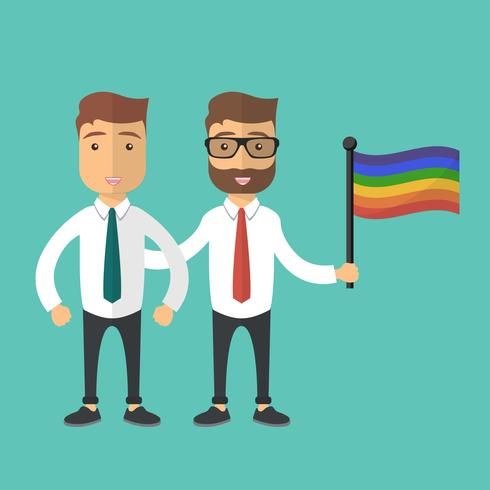 Vectorillustratie voor de gebeurtenisviering van de trotsmaand. Twee homoseksuele man permanent samen met regenboogvlag.