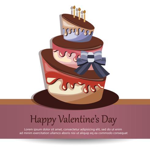 Carte de Saint Valentin avec un gâteau