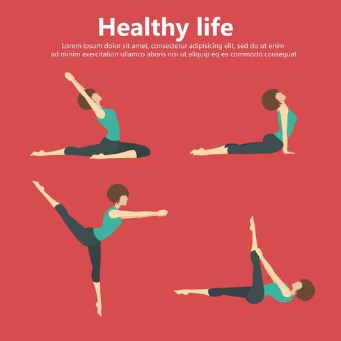 Posiciones de yoga, gimnasia y entrenamiento físico.