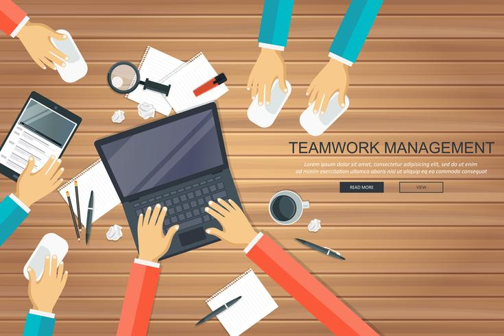 Teamwork management concept. Analyzing project on business meeting