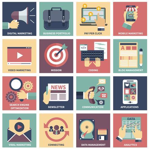 Ikoner för digital marknadsföring, videoannonsering, sociala medier kampanj, nyhetsbrev marknadsföring, betala per klick service, webbplats SEO optimering