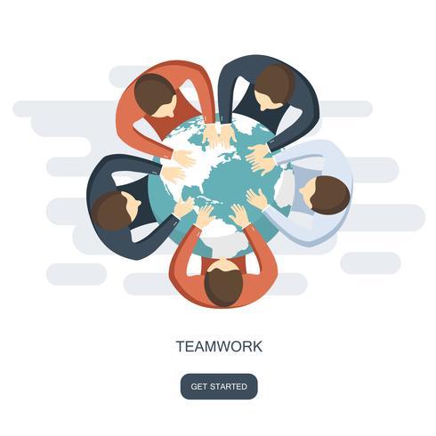 Concepto de trabajo en equipo y team building. Ilustración vectorial plana