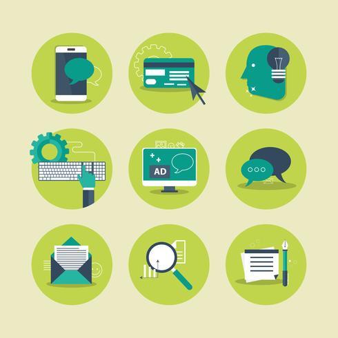 Webbikoner för företag, databehandling, mobilapplikation och chatt. Platt vektor illustration