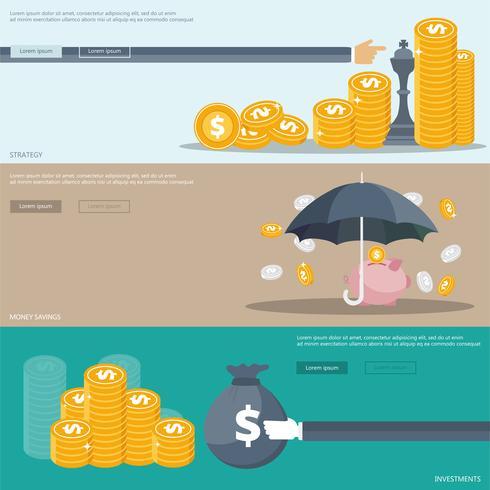 Banners de estrategia, inversiones y ahorro de dinero para sitios web y aplicaciones móviles.