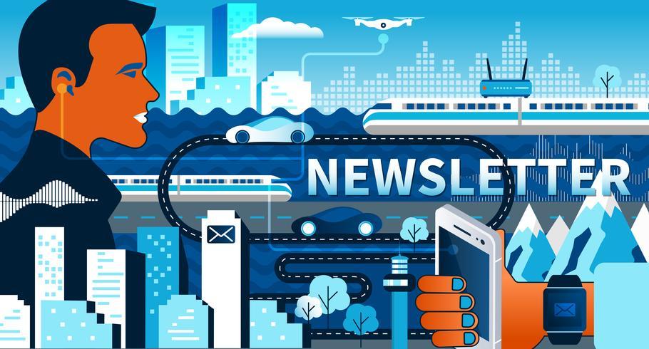 Subscreva a nossa ilustração de néon do vetor liso semanal do boletim de notícias para o design web da Web do ux do ui. Ilustração vetorial plana
