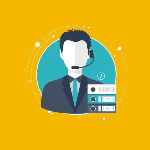 Concept de service d'assistance. Illustration design plat avec des icônes. Assistant de support technique.