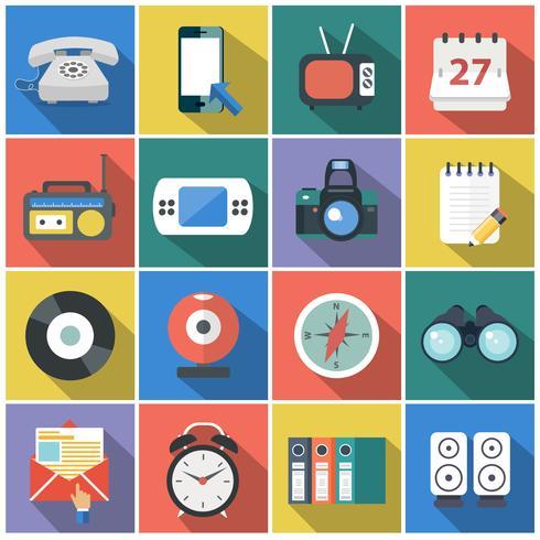 Icônes de plats modernes vector collection avec effet d'ombre portée dans des couleurs élégantes des objets de conception web, affaires, bureau et articles marketing