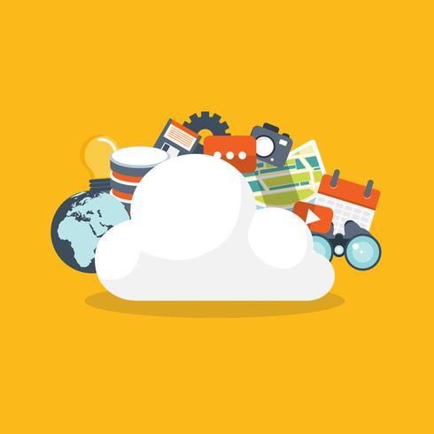 Concept informatique en nuage. Technologie de réseau de stockage de données vecteur