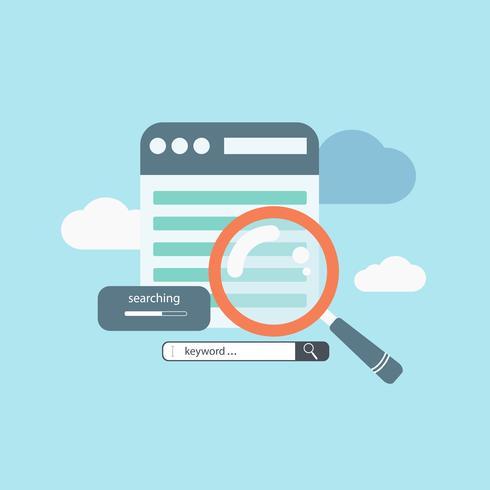 Concept pour la recherche de mots clés, l'optimisation sur page et l'optimisation des moteurs de recherche