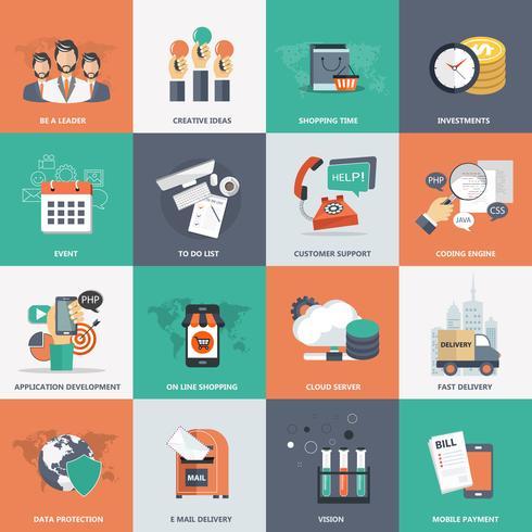 Jeu d'icônes commerciales, technologiques et de gestion pour sites Web et applications mobiles