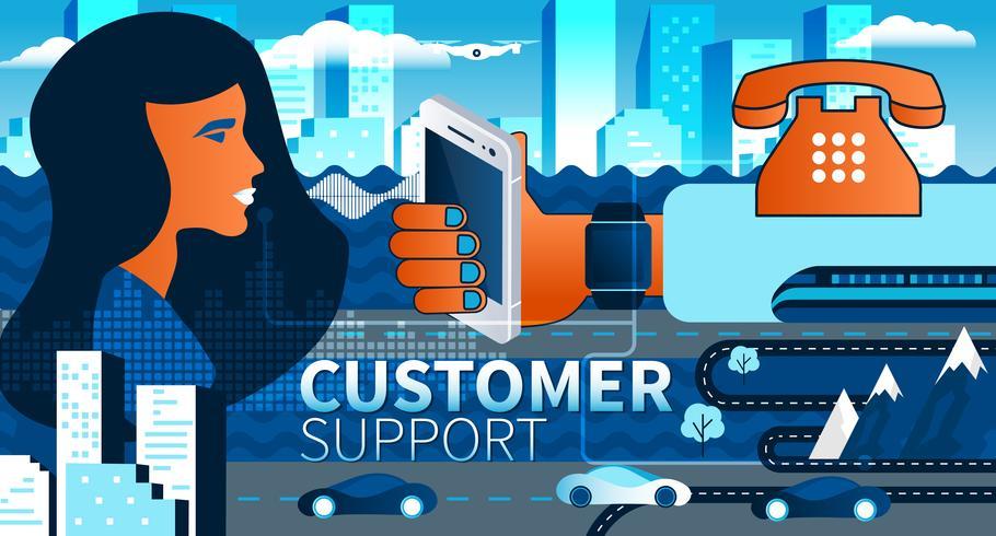 Aide en ligne et support client en ligne sur le concept de smartphone